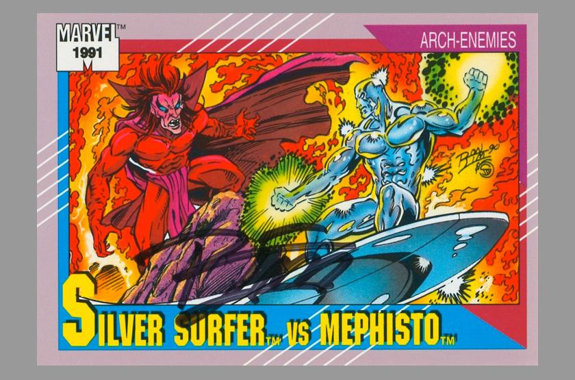 1991 marvel ron lim signed art trading card silver surfer vs mephisto