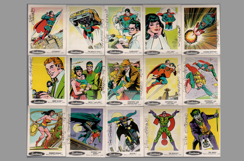 Signed 1978 dc comics sunbeam card sticker set dick giordano art superman batman jla