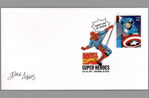 2007-usps-super-heroes-comic-art-stamp-signed-autograph-marvel-fdi-first-day-issue-sdcc-spiderman-captain-america-avengers-dick-ayers