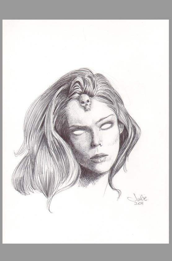 julie-bell-original-art-sketch-x-men-xmen-drawing-signed-autograph