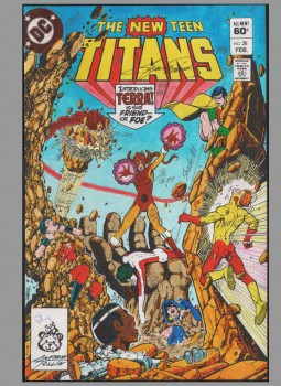 new-teen-titans-original-cover-art-george-perez-color-guide-first-terra-cover-signed-signature-autograph-1