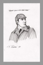 sherlock-holmes-basil-rathbone-original-art-sketch-thomas-gianni-with-quote-1