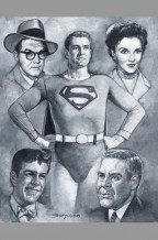 george-reeves-superman-tv-television-series-original-art-painting-signed-sanjulian-lois-lane-jimmy-olsen-clark-kent-perry-white-1