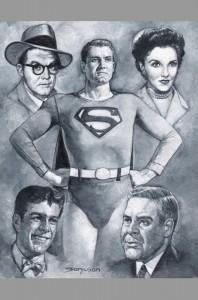 george-reeves-superman-tv-television-series-original-art-painting-signed-sanjulian-lois-lane-jimmy-olsen-clark-kent-perry-white-1