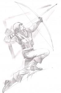 Mike Grell Original Art Sketch ~ Green Arrow