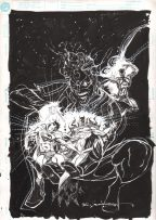 Bill Sienkiewicz Original Unpublished Cover Art Batman Superman Joker Green Lantern Comic Art