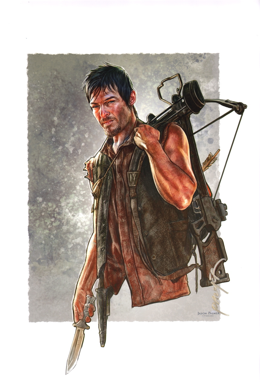 Palmer signed comic art print walking dead norman reedus daryl dixon