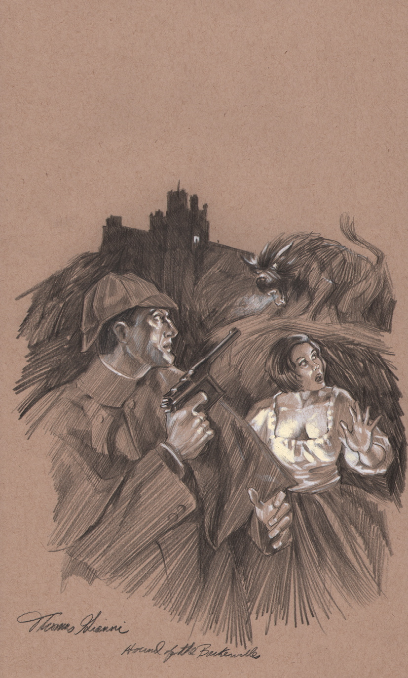 thomas-gianni-original-sherlock-holmes-mystery-magazine-art-cover-prelim-hound-of-the-baskervilles-1