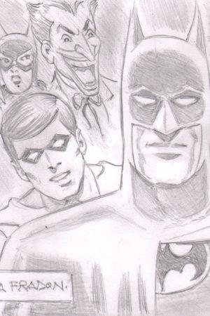 ramona-fradon-original-art-sketch-batman-family-batgirl-catwoman-robin-joker-1