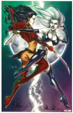 Billy Tucci Remarqued Art Print ~ Shi vs. Lady Death Comic Art