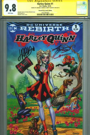 cgc-ss-signature-series-jimmy-palmiotti-amanda-conner-art-harley-quinn-rebirth-first-issue-variant-emerald-city-oz-wizard-of-catwoman-poison-ivy-power-girl-1