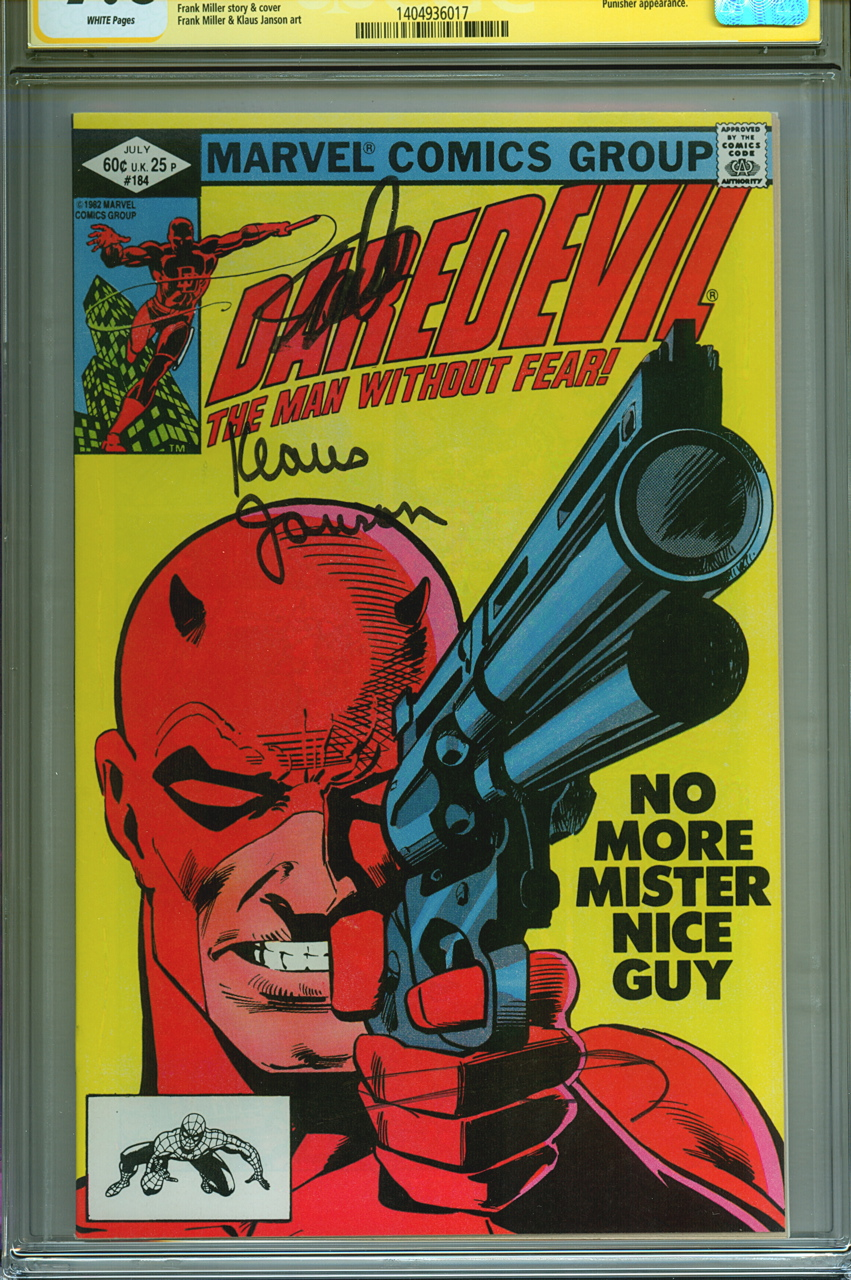 CGC SS 98 Signed Daredevil 184 Stan Lee Frank Miller Klaus Janson