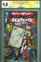 Ant Lucia Sketch CGC SS 9.8 Harley Quinn Gang of Harleys #1 Signed Amanda Conner Jimmy Palmiotti Comic Art